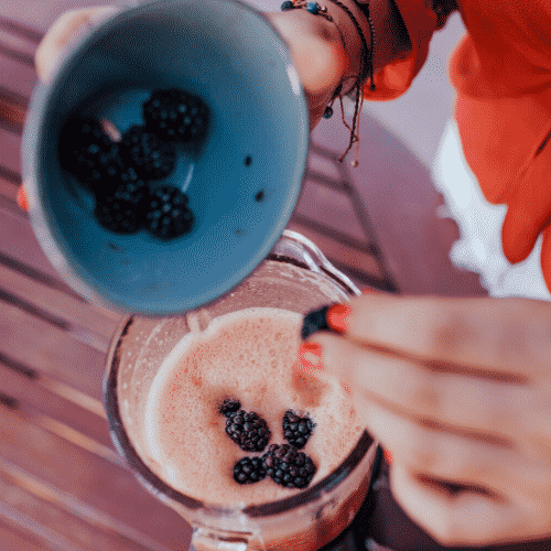 Place all the ingredients into the blender to make the beautiful purple power fertility smoothie