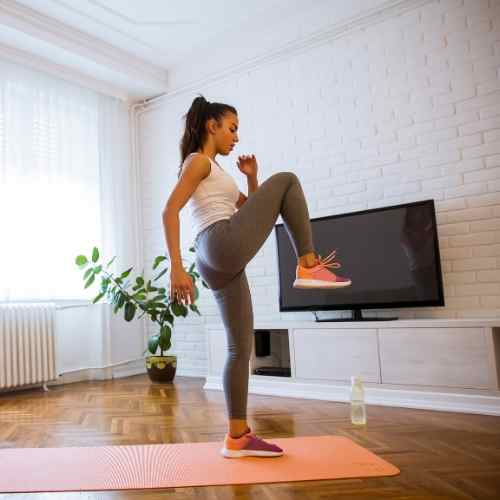 This living room workout routine is designed to give a basic cardio, strength and suppleness workout